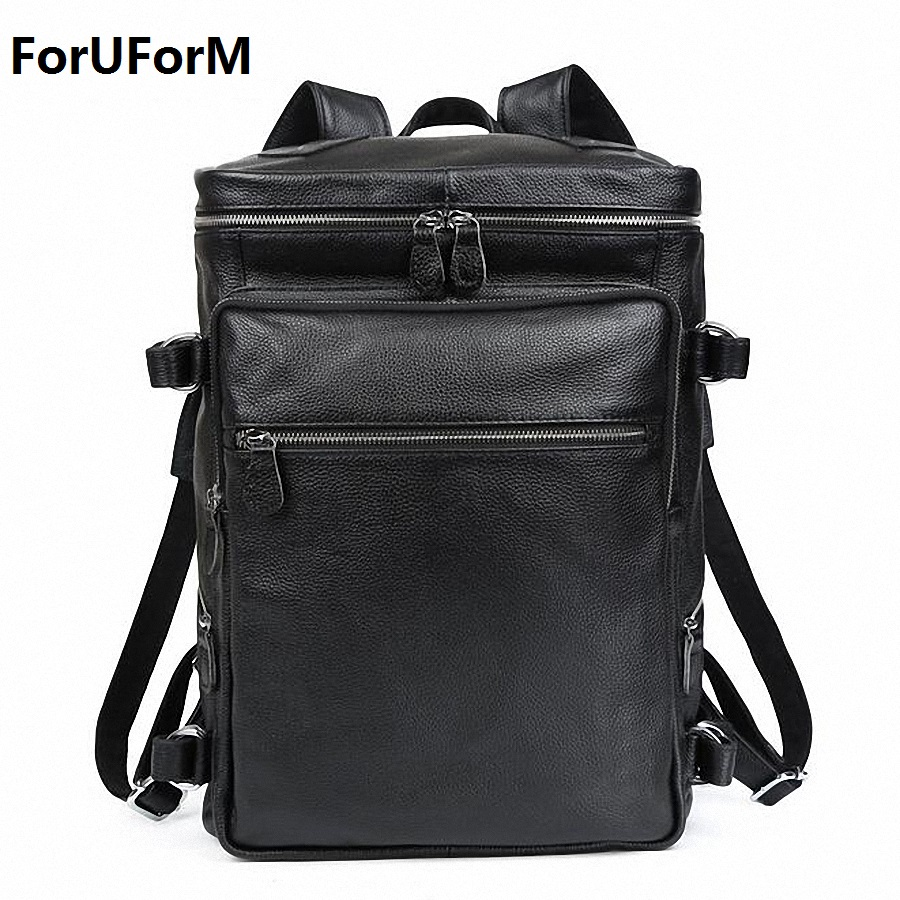 High Class 100% Genuine Leather Backpack Men Travel backpack real Leather School bag Cowhide weekend bag Overnight New LI-1470 tiding cool cowhide leather laptop backpack day pack activity travel weekender overnight bag 30813