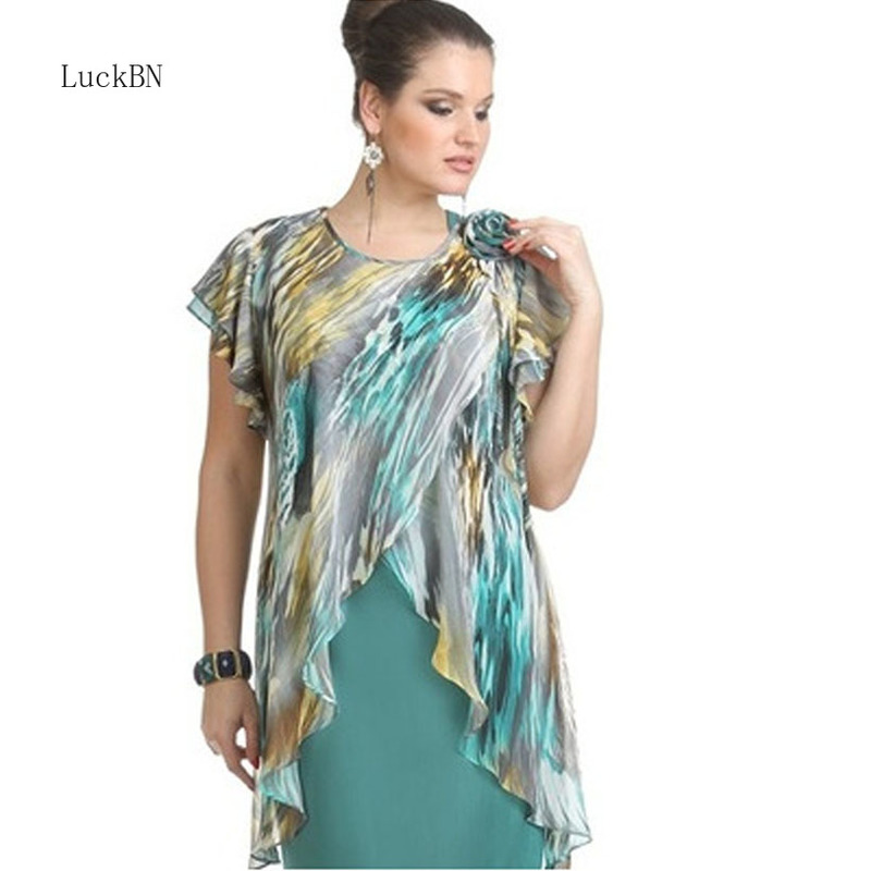 L-5XL Plus Size Autumn New Plus Size Chiffon Stitching Irregular Dress Women Vintage Flower Print Bodycon Pencil Dress Clothes