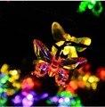 4.8 m 20 Borboleta Luzes Do Feriado De Fadas Jardim Natal Natal Home Decor Branco Morno/RGB LED String Solar luces Guirlanda de navidad