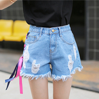 With Hole Burr Red And Blue Ribbon Bow Tie Denim Shorts Women Casual Shorts For Girls