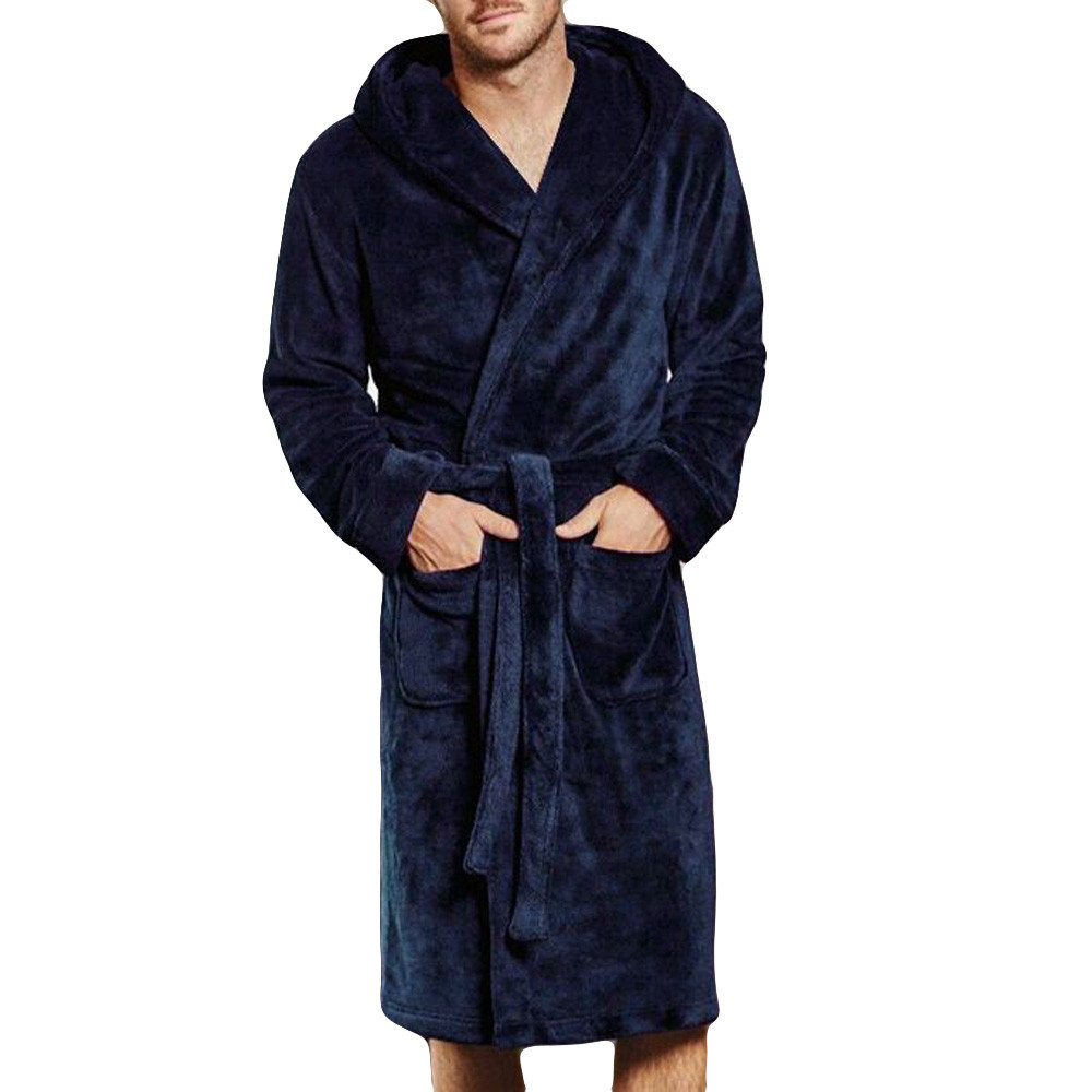 New Arrival Men's Winter Lengthened Coralline Plush Shawl Bathrobe Long Sleeved Robe Coat Mannen Gewaad Home Clothes Sleepwear