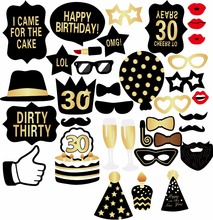 Man Woman Style 30th Birthday Photo Booth Props Funny Mustache 30 Years Photobooth Party Favors