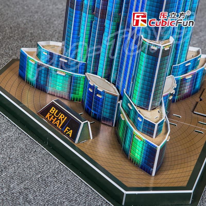 Nyttårsgave Burj Khalifa 3D-puslespillmodellbygging LED-tårn DIY - Puslespill - Bilde 5
