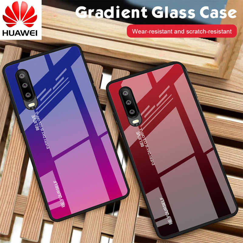 Gradient Tempered Glass Phone Case For Huawei Honor 8X Mate 20 Pro Mate 10 P20 Lite P Smart Plus Nova 3i 3 4 P30 Cover Housing