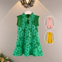 girls maxi dress lace floral Chinese style princess kids girl dress summer  2018 one piece outfit 8270405757a1