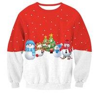 Red Christmas Sweatshirt Snowman Deer Print Pullover Hoodie Loose Size S XXL Women Jacket Coat Long