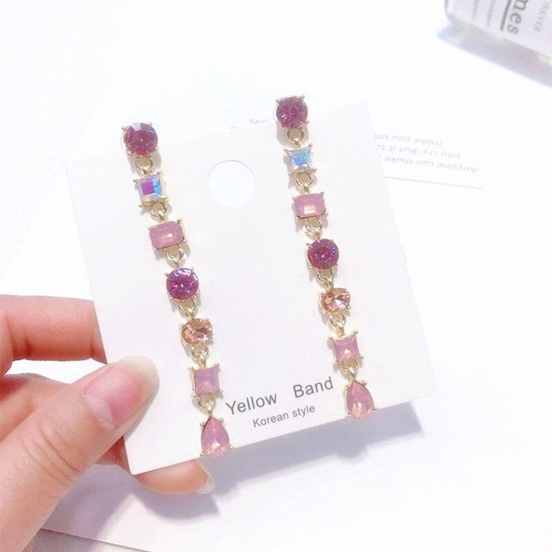 New-Design-Korean-Pink-Square-Crystal-Long-Full-Rhinestone-Drop-Earrings-For-Girls-Temperament-Statement-Boucle