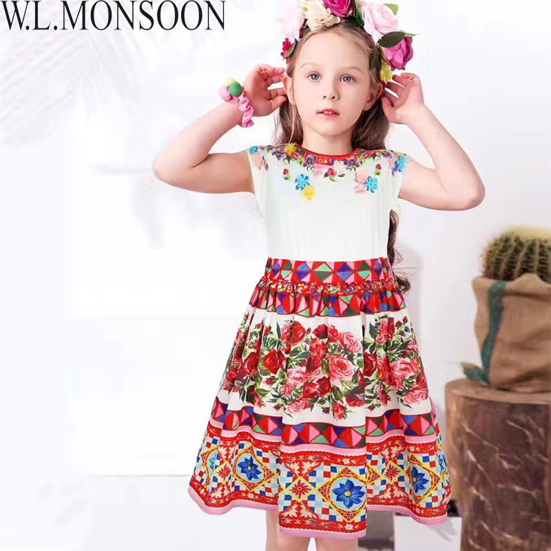 W.L.MONSOON Girls Summer Dress Vestidos 2018 Brand Children Dress Princess Costume for Girls Clothing Flower Kids Dresses 3-12Y summer dresses for girls party dress kids costumes for girls blue flower princess vetement vestidos infantil children clothing
