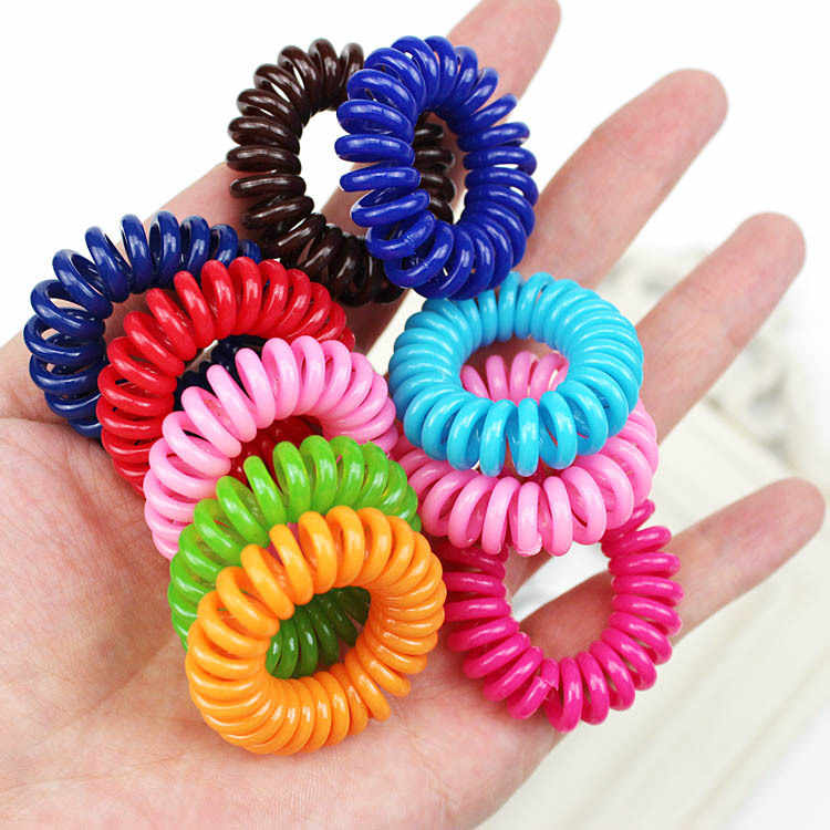 1PC/Lot New 3.5cm Small Telephone Line Hair Ropes Girls Colorful Elastic Hair Bands Kid Ponytail Holder Tie Gum Hair Accessories