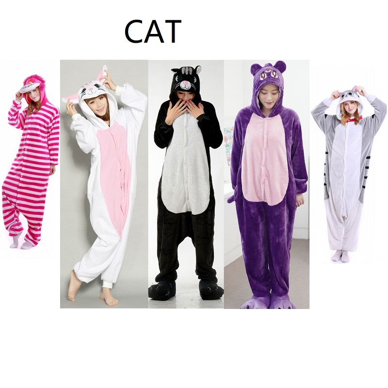 Cartoon Animal Kigurumi Long Sleeve Hooded Onesie Women Cute Cat Onsie Winter Homewear Onesies For Adults ...