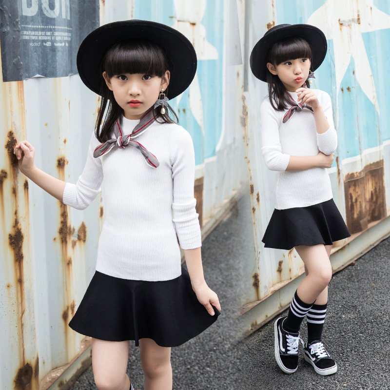 2017 Autumn Sweater Clothing Set For Girls 4 5 6 7 8 9 10 11 12 13 14 Years Teenagers Baby Girl Clothes Set Sweater Top + Skirt
