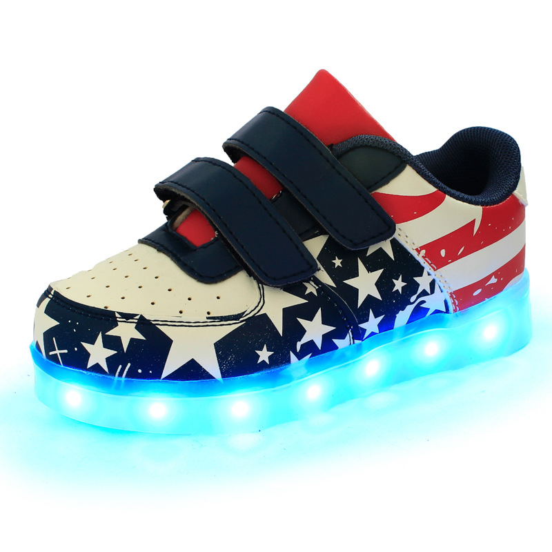 Boys sneakers 2017 Five pointed star Flag shoes children shoes with light led light shoes kids
