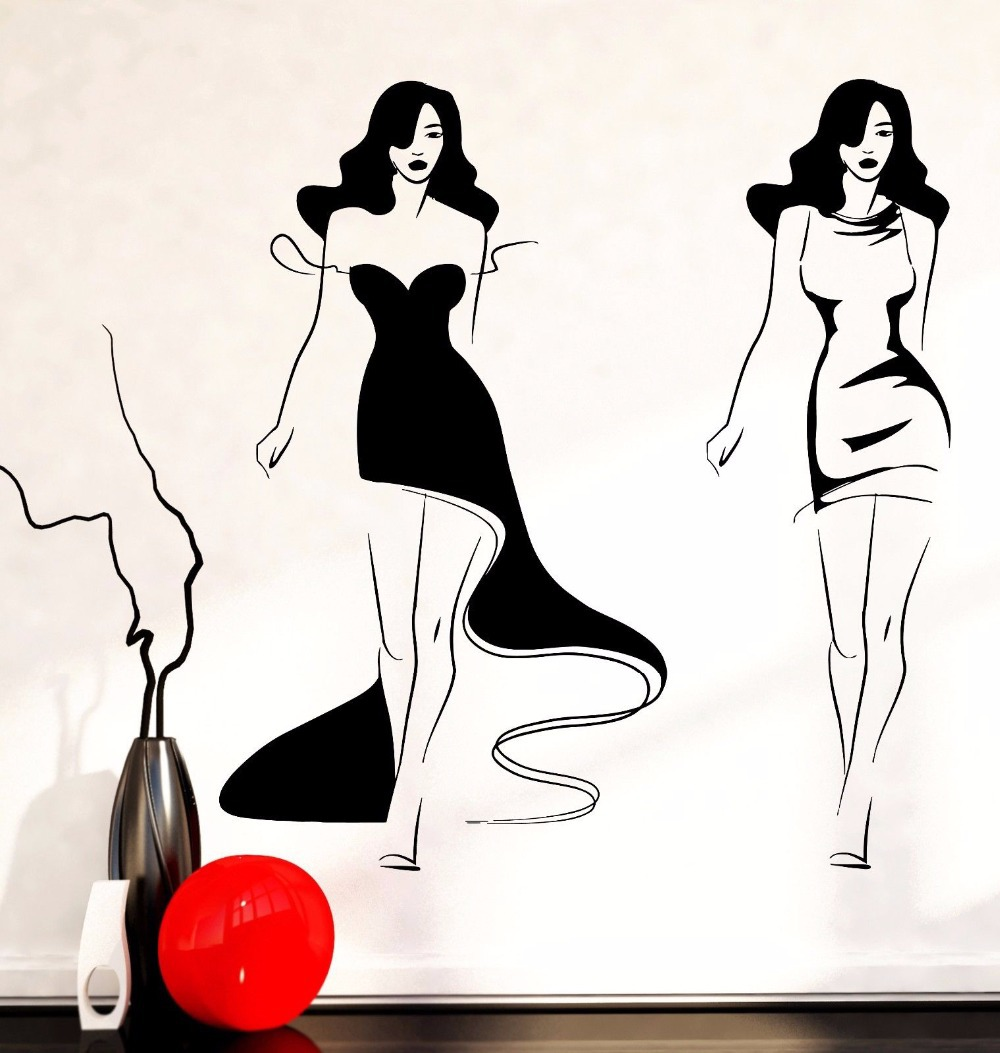 clothing store wall sticker fashion sexy girls ladies women mural art wall sticker clothes shop beauty salon bedroom decoration. beautiful ideas. Home Design Ideas