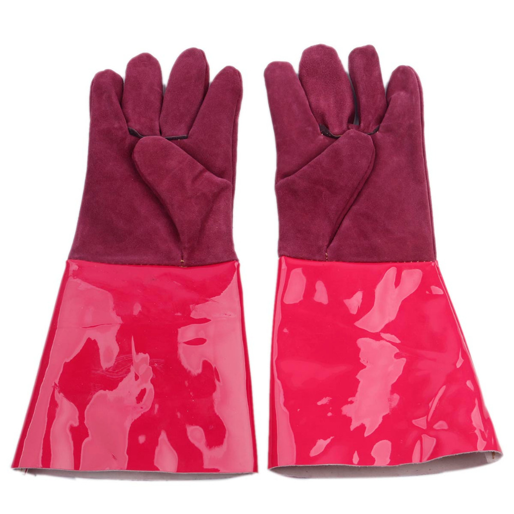 High Temperature Resistant Splash Resistant Anti-cold Leather Lengthened Thickened Welding Gloves Fireproof Work Safety Gloves low temperature of liquid nitrogen gloves gloves cold freezing ice lng leather gloves