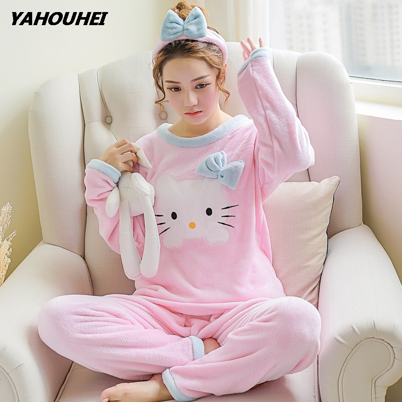 Pajamas     Sets   For Women 2019 Winter Fashion NightWear Leisure Home Cloth Woman Long Sleeve Flannel Warm Pyjama Girl Sleepwear   Set