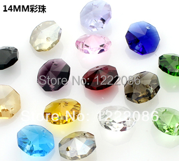 free shipping,14mm aaa-grade crystal octagon mixed 1000pcs beads craft gift suncatcher mxd colour(2 holes