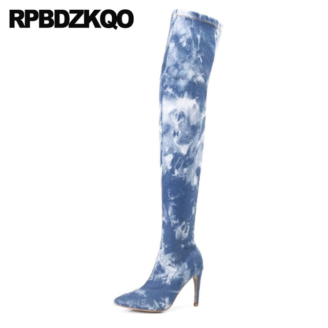 10 Stiletto Brand Big Size Pointed Toe Peep Blue Denim Boots Over The Knee  High Heel Dance Jeans Fetish Women Shoes Thigh Crotch