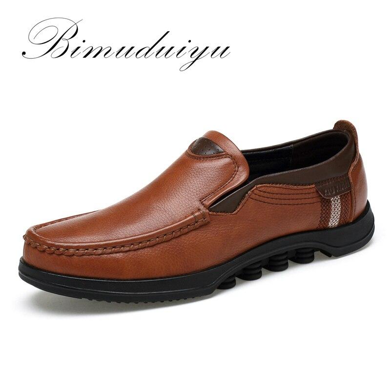 BIMUDUIYU Autumn/ Winter New Plus Size Genuine   Leather   Men Casual Shoe Deodorant Ventilation British business Flat Shoes For Men