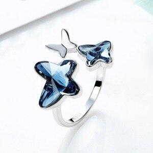 Image 2 - Cde 925 anel esterlina embelezado com cristais borboleta ajustável dedo feminino anel de noivado de casamento jóias
