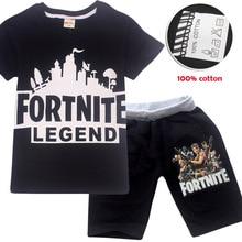 Fortnite 뜨거운 판매 브랜드 소년 의류 어린이 여름 소년 의류 만화 어린이 소년 의류 세트 티셔츠 + 바지 2pcs 코튼 세트