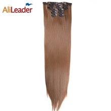 """Alileader продукты 16 Зажимы 6 шт./компл. полная головы волос клип на куски 22 """"140 г Синтетический Длинные прямые накладные шиньоны"""