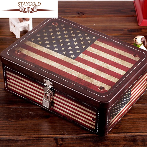 Kuum müük Candy Ehted Sundries Storage Box Vintage USA lipp Tin Metal Box Home Decor Dekoratsioon Display 18 * 25 * 8,5 cm