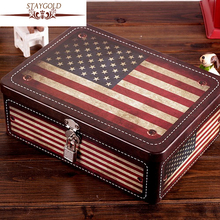 Hot Selling Candy Jewelry Sundries Storage Box Vintage USA Flag Tin Met