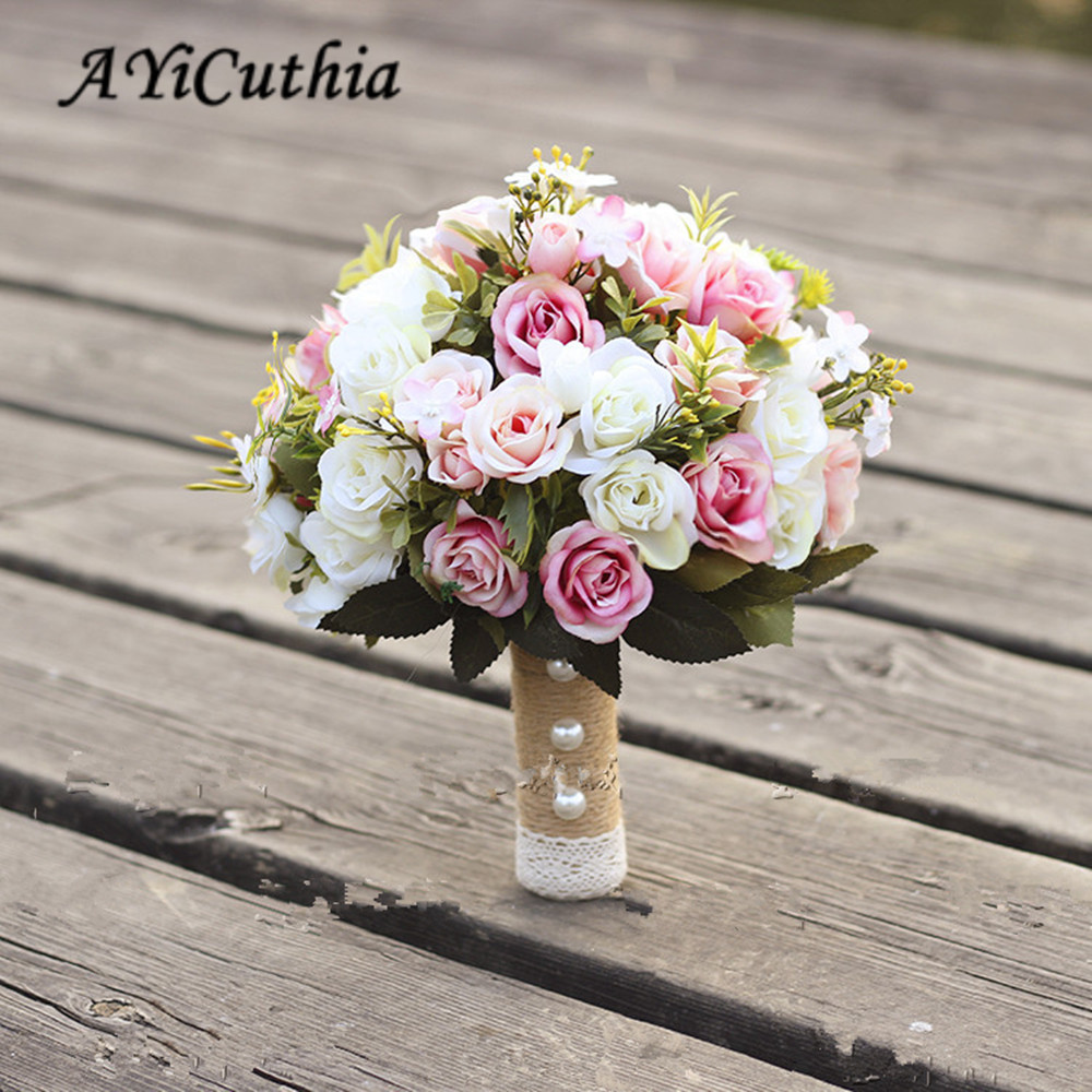 AYiCuthia Wedding Bouquet Handmade Artificial Flower Rose Buque Casamento Bridal Bouquet For Wedding Decoration Ramos De Novia