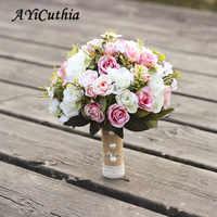 AYiCuthia ramo de boda hecho a mano flores rosa Artificial buque casamento nupcial ramo para la boda decoración de ramos de novia