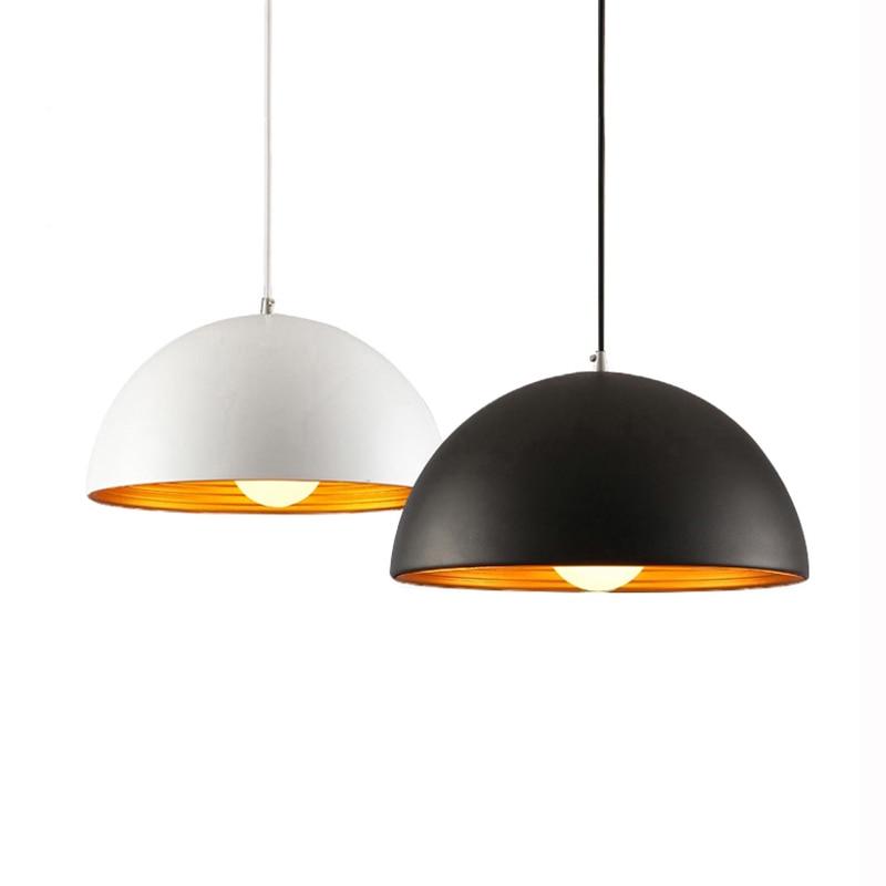 Nordic Black / White Vedhæng Lys Aluminium Lampeskærm Belysning Suspension Armatur E27 110V 220V til indretning Hængende Lysarmatur
