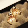 AGOOD  2017 gold double pearl stud earrings for women boucle d'oreille femme big pearl pendientes perlas shamballa earings