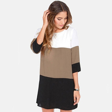 Autumn New Women s Casual Round Neck 3 4 Sleeve font b Party b font Patchwork