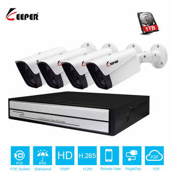 Keeper H.265 4CH 1080P POE camera kit with 2MP Outdoor IP66 IP Camera P2P Onvif Security Surveillance Kit Motion Detect APP View - DISCOUNT ITEM  32% OFF All Category