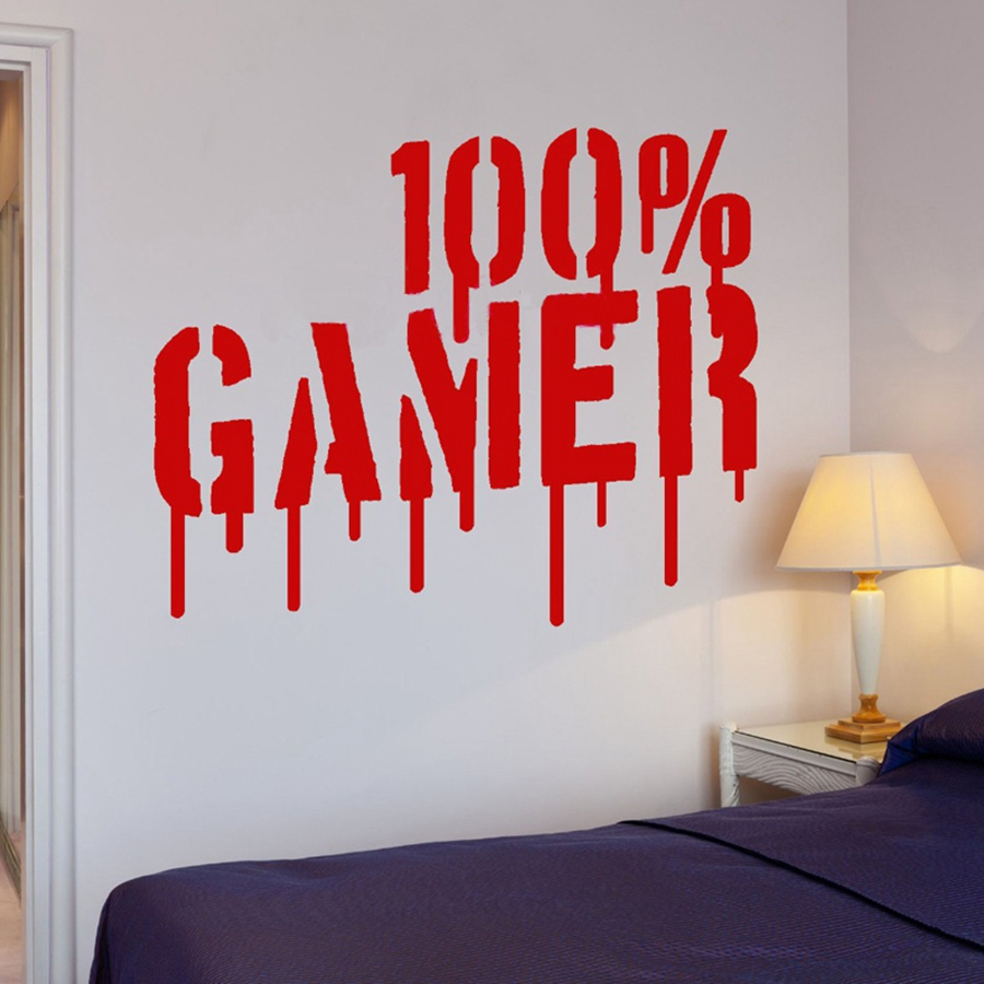 Gamer vinyl wall art sticker mural wallpaper wall decals for Boys room wall mural