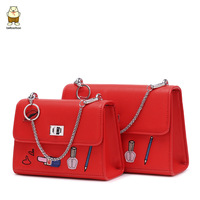 BEIBAOBAO 2017 Women Vintage Shoulder Bags Korea Pu Leather Two Size Handbag Three Straps Substituted Chain