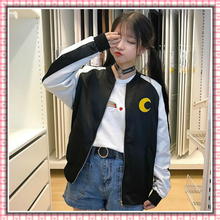 Japanese Cute Sweet Girls Hoodies Back Sailor Moon Cartoon Embroidery Lovely Sweatshirt Long Sleeve Zip-up Thin Sudadera Mujer