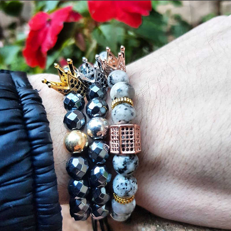Valta bransoletka tytanu spacer naturalne kamień hematyt kamień naturalny bransoletka pulseras mujer moda kask koralik cyrkon dostosowane