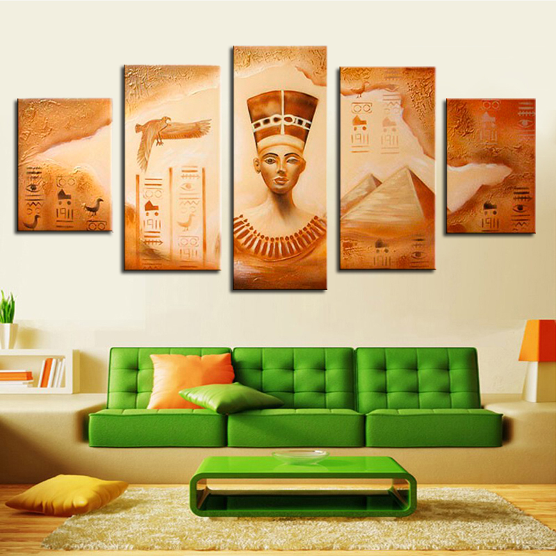 Hand Painted Retro Oil Paintings Egyptian Pharaoh Figure Painting on Canvas for Living Room Decoration Pictures Unframed 5 Panel