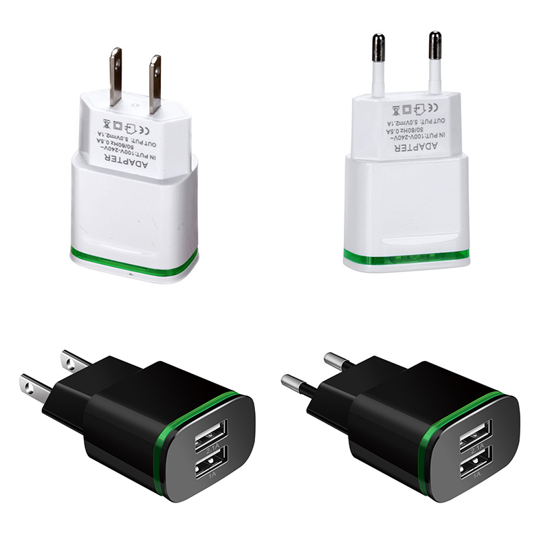 Dual USB <font><b>Charger</b></font> With Led Light Universal Mobile Phone USB <font><b>Charger</b></font> Fast Charging Wall <font><b>Charger</b></font> For iPhone Samsung Xiaomi Max 2.1A image