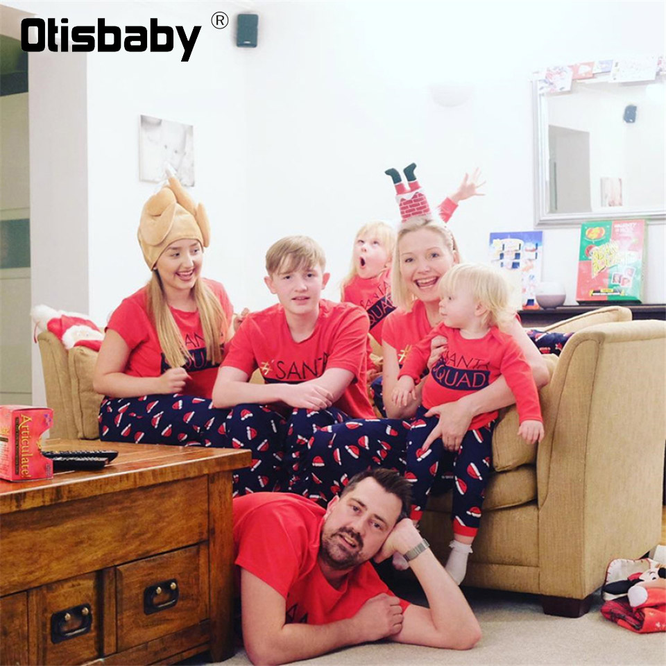 Weihnachten Passenden Familie Outfits Neue Jahr Mutter Vater Sohn Tochter Pyjamas Mama und Baby Spiele Passenden Outfits