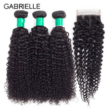 Gabrielle Brazilian Afro Kinky Curly 3 Bundles with Closure 4x4 Natural Color 100% Non Remy Human Hair Extensions Free Shipping(China)