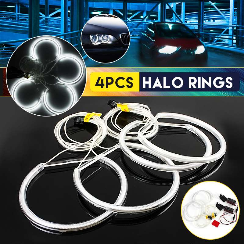 NEW 4pcs CCFL Angel Eyes Halo Rings Lights 130mm Xenon LED White Headlight Bulbs Angel Eye For BMW E36 E39 E46