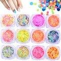 1mm 2mm Tamaño Mezclado Nail Art Glitter Calcomanías Redondas Fluorescente Lentejuelas Perla Copos de Color 3D Decoración Del Arte Del Clavo 12 Colores Opcionales
