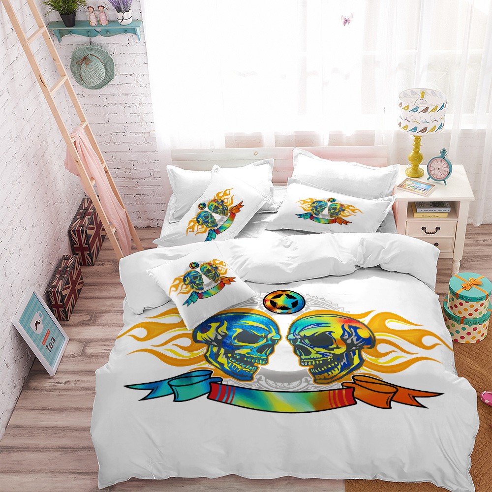 65d012d7b528 4Pcs Bedding Set Halloween Skull Duvet Cover King Queen Bed Sheets Cover  Pillowcase Home Decor Comforter Cover bed set D35