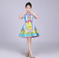 Russian National Costumes Modern Stage Costumes children Dance Princess Dress