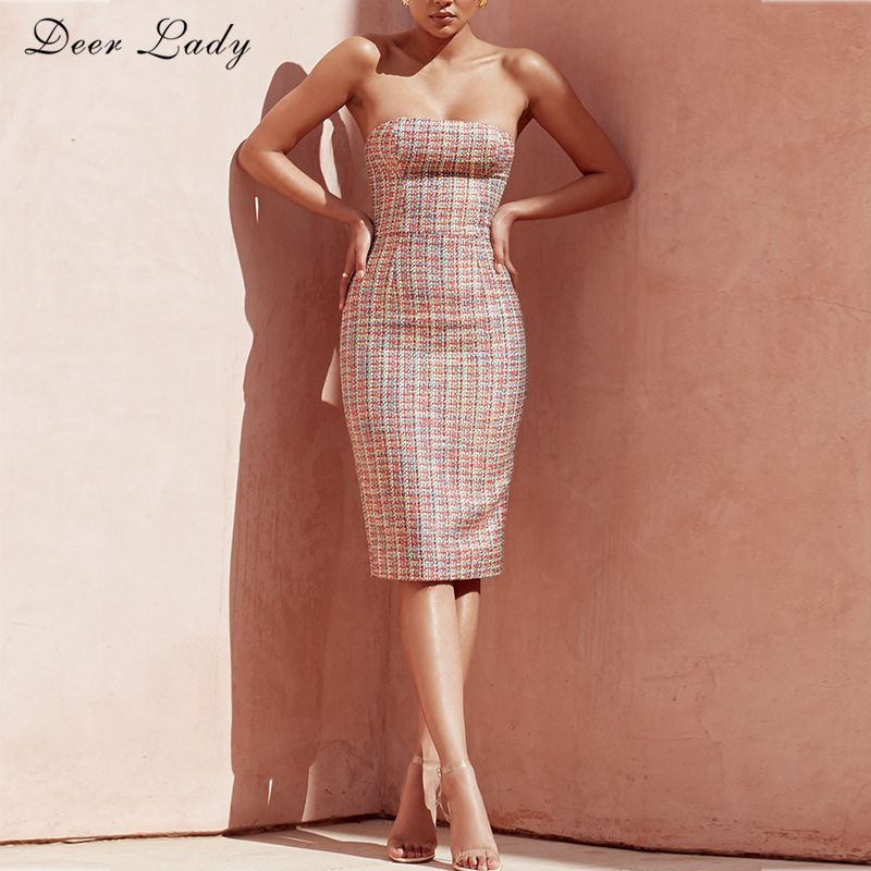 Deer Lady Summer Dress 2018 Women Party Sexy Bodycon Strapless Multi Colour Fashion Club Tweed Dress Wholesale HL