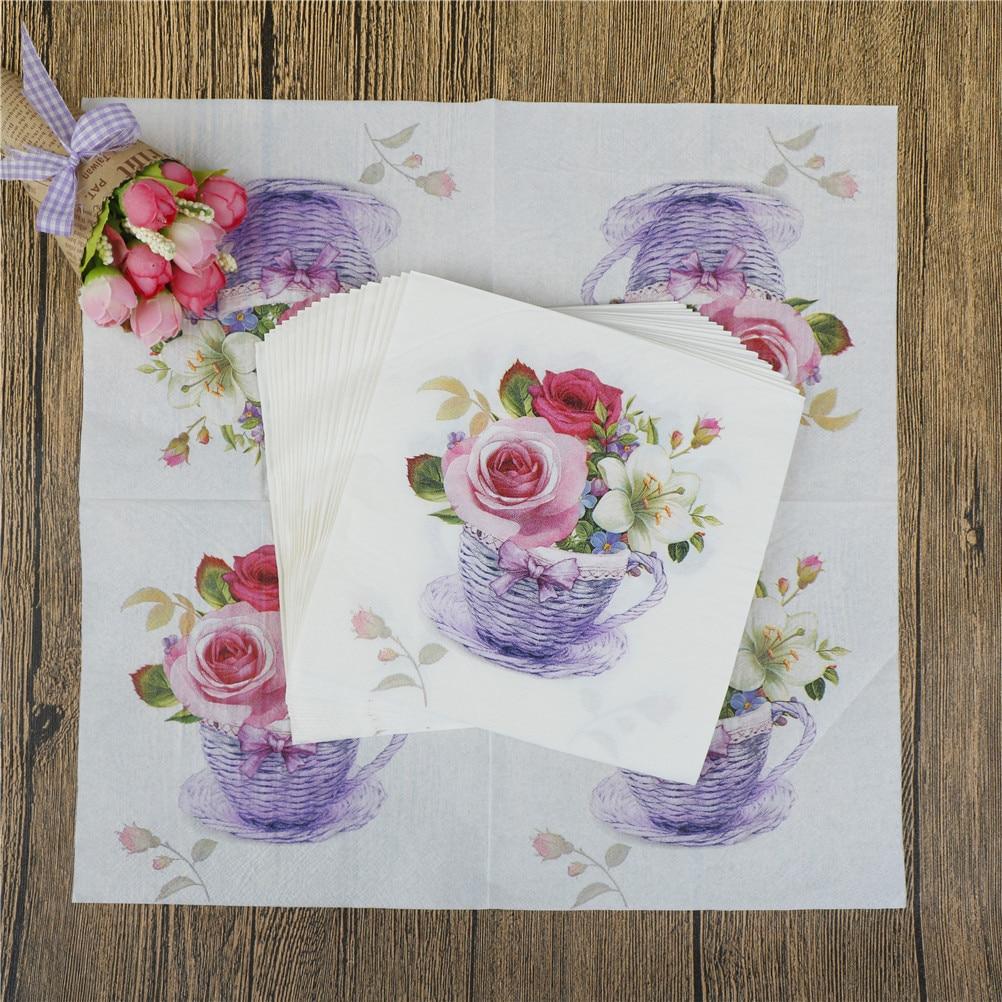20pcs Pack Tissue Napkins Bloosm Rose Floral Flower Theme Paper Napkins Festive Party Supplies