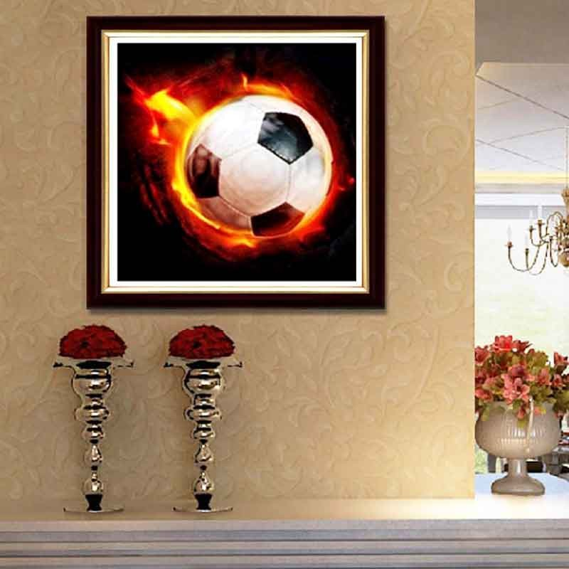 Aliexpress Com Buy Resin Wall Stickers Football Fire 5d Round Diamond Painting Cross Stitch Home Decor