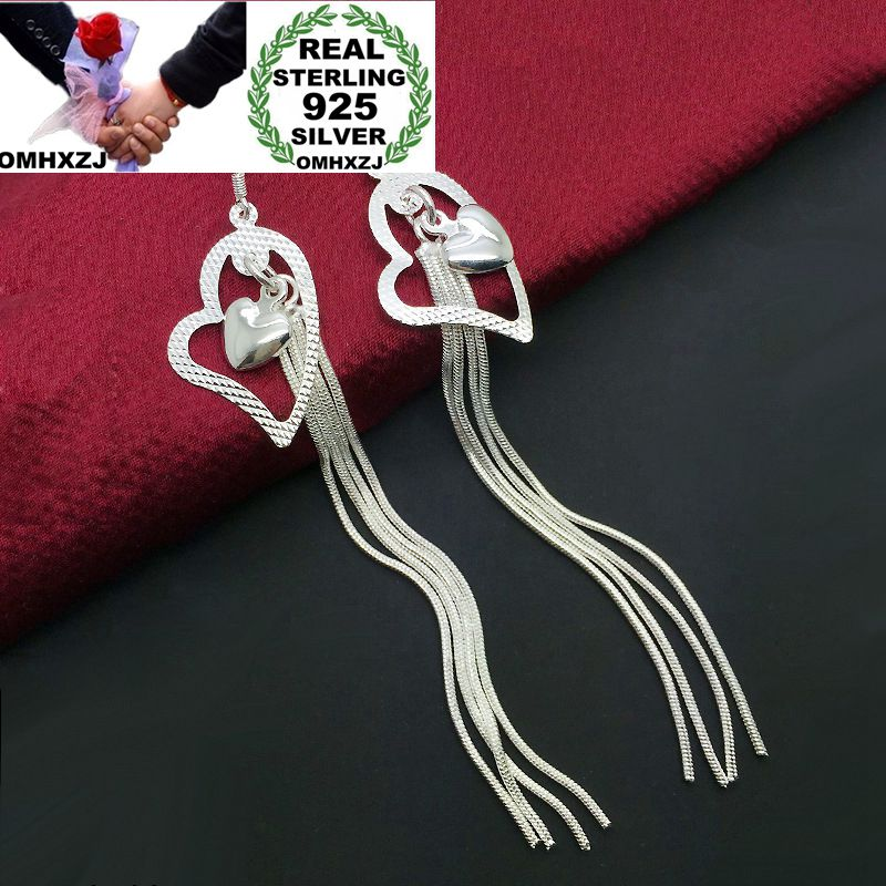 OMHXZJ Wholesale Personality Fashion OL Woman Girl Party Wedding Heart Silver Long Tassel 925 Sterling Silver Earrings YE339OMHXZJ Wholesale Personality Fashion OL Woman Girl Party Wedding Heart Silver Long Tassel 925 Sterling Silver Earrings YE339