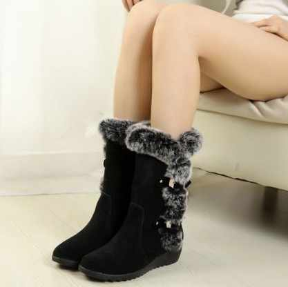 Новинка года; популярные женские сапоги наивысшего качества; сезон осень-зима; Модные женские зимние сапоги из флока; замшевые сапоги до середины голени; EUR35-42